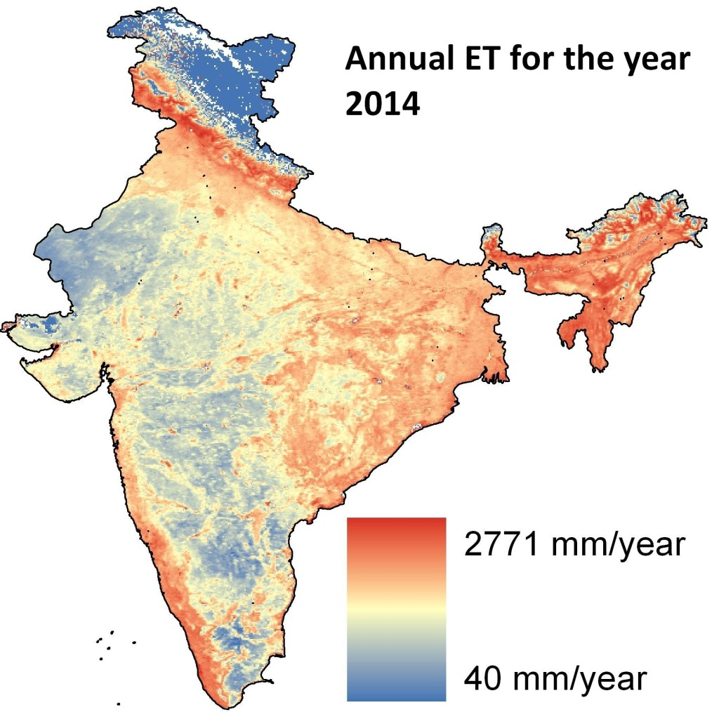 Annual Evapotranspiration for year 2014 over India