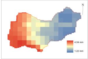 Spatial map of ET (mm/day) estimated over Berambadi watershed (19 Dec-2013)