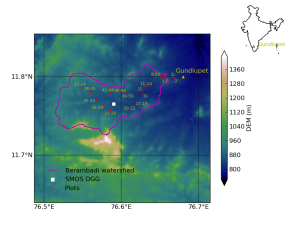 Location of Berambadi watershed inside India (shown in inset) and Digital Elevation Model (DEM).