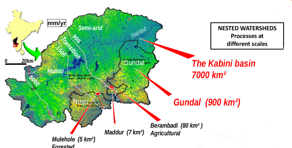 Nested watersheds of the Kabini river basin